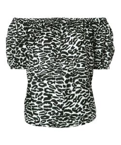 Piamita | Off-Shoulders Leopard Print Blouse Womens Size Xs Silk