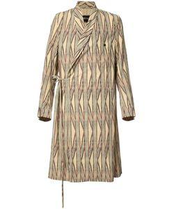 Uma Wang | Striped Wrap Coat Mens Size Large Cotton