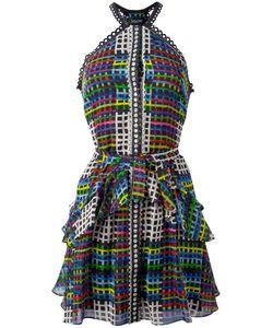 Saloni   Geometric Print Flared Dress Womens Size 12 Polyester/Silk