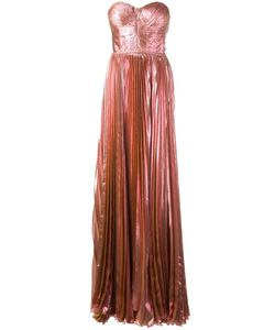 Maria Lucia Hohan | Bustier Pleated Gown Womens Size 34 Polyester/Nylon/Spandex/Elastane/Silk