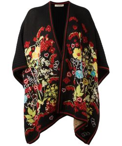 Piccione.Piccione | Piccione. Piccione Floral Intarsia Knitted Poncho Womens Polyamide/Polyester/Acetate/Virgin Wool