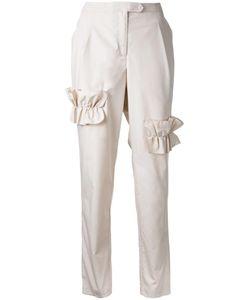 Paskal | Ruffled Trim Trousers Womens Size Medium Cotton/Spandex/Elastane