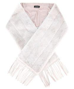 Yves Salomon | Stripe Detail Fringed Scarf Womens Mink Fur/Lamb Skin/Silk