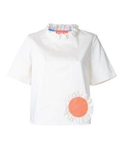 Paskal | Ruffled Trim Blouse Womens Size Medium Cotton/Spandex/Elastane