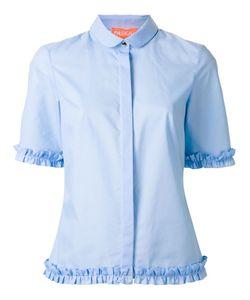Paskal | Ruffled Trim Shirt Womens Size Medium Cotton/Spandex/Elastane