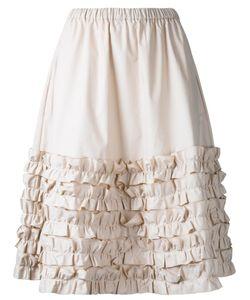 Paskal | Ruffled Trim Pleated Skirt Womens Size Small Cotton/Spandex/Elastane
