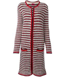 Moncler Gamme Rouge   Patterned Knit Long Coat Womens Size 44