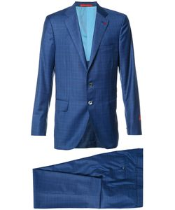 Isaia | Checked Suit Mens Size 54 Cupro/Silk/Wool
