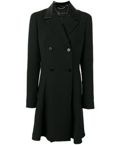 Versace | Double-Breasted Coat Womens Size 42 Silk/Goat Skin/Cupro/Wool
