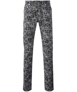 Dior Homme   Lines Print Trousers Mens Size 32 Cotton/Spandex/Elastane/Calf Leather