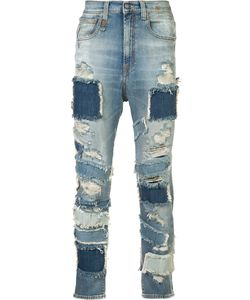 R13 | Patched Frayed Cropped Jeans Mens Size 32 Cotton/Spandex/Elastane