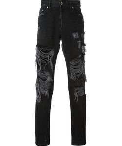 MSGM | Ripped Straight Jeans Mens Size 48 Cotton