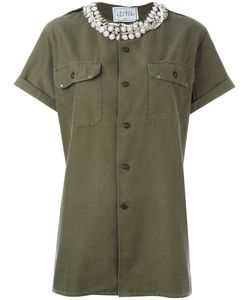 Forte Couture | Stoned Collar Shirt Womens Size Medium Cotton/Brass/Plastic/Polyester