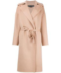 Rochas | Board Lapel Belted Coat Womens Size 42 Angora/Virgin Wool/Silk