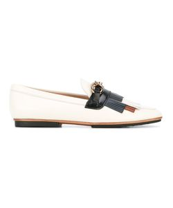 Tod's   Fringed Trim Loafers Womens Size 38 Leather/Metal/Rubber