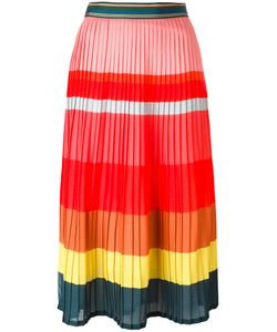 Paul Smith | Striped Pleated Skirt Womens Size 44 Polyester/Acetate/Silk/Polyamide