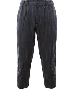 08Sircus | Striped Cropped Trousers Mens Size 6 Cotton/Cupro