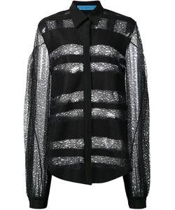 Jonathan Cohen | Transparent Striped Pattern Shirt Womens Size Small Polyester