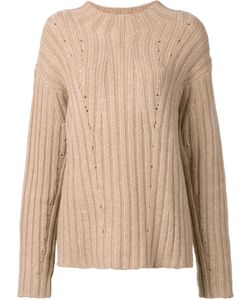 Nili Lotan | Loose Fit Ribbed Jumper Womens Size Small Cashmere/Camel