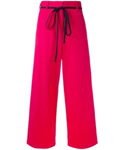 Hache   Wide-Legged Cropped Trousers Size 40 Cotton/Linen/Flax/Spandex/Elastane