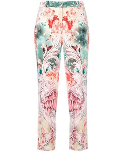 Roberto Cavalli | Print Cropped Trousers Womens Size 46 Cotton/Viscose/Spandex/Elastane