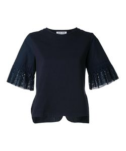 Muveil   Broderie Anglaise Cuff T-Shirt Womens Size 38 Cotton