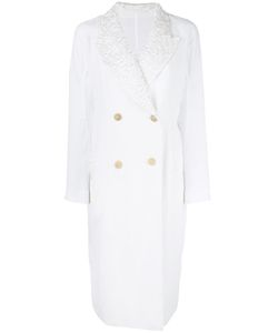 Ermanno Scervino | Detailed Collar Double-Breasted Coat Womens Size 42 Linen/Flax/Polyester/Polyamide