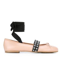 Pretty Ballerinas | Contrasting Strap Ballerinas Womens Size 36 Leather/Eel Skin/Cotton/Polyester
