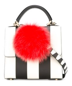 Les Petits Joueurs | Pompom Striped Tote Womens Leather/Racoon Fur