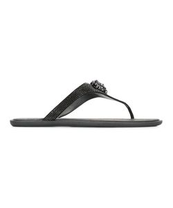 Versace | Medusa Head Flip-Flops Womens Size 38.5 Suede/Leather/Crystal/Rubber