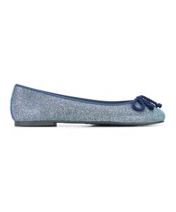 Pretty Ballerinas | Front-Bow Ballerinas Womens Size 38 Leather/Polyester/Cotton/Rubber
