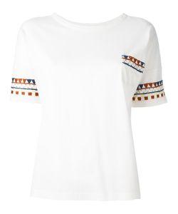 YMC | Patterned Trim T-Shirt Womens Size Xs Cotton
