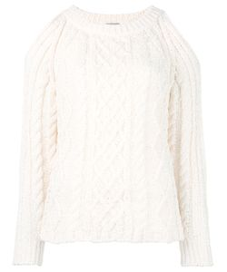 Nude | Cable Knit Cut-Out Jumper Womens Size 42 /Neutrals Cotton/Polyamide/Polyester