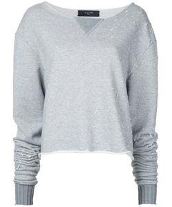 Amiri   Destroyed Cropped Sweatshirt Womens Size Small Cotton