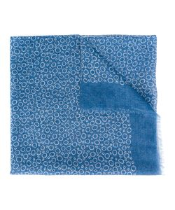 Canali | Circle Pattern Scarf Mens Cotton/Linen/Flax