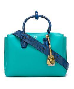 MCM | Snake Print Trim Tote Bag Womens Leather