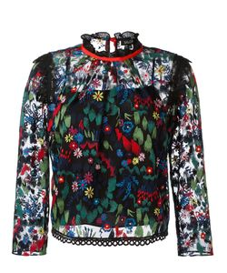 Saloni   Embroide Tulle Blouse Womens Size 10 Polyester