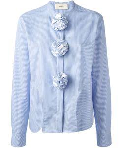 Ports   1961 Seersucker Pom-Pom Shirt Womens Size 44 Cotton