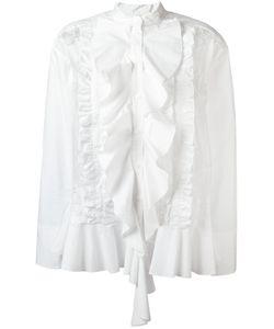 Twin-Set | Ruffled Trim Pleated Shirt Womens Size 44 Cotton/Polyamide