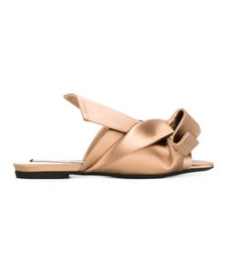 No21   Folded Detail Sandals Womens Size 39 Leather/Silk/Rubber