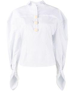 Jacquemus   Stripe Puff Sleeve Shirt Womens Size 38 Cotton