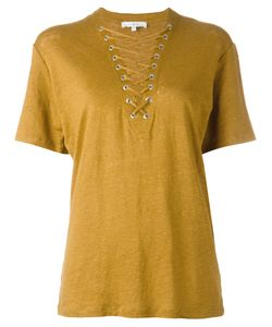Iro | Lace Up Neck Top Womens Size Small Linen/Flax