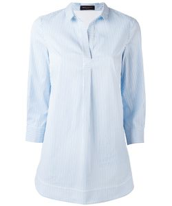 Piazza Sempione | Open Neck Striped Shirt Womens Size 48 Cotton/Polyamide/Spandex/Elastane/Cotton
