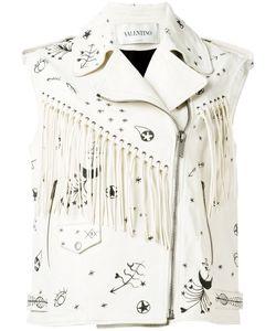 Valentino | Fringed Sleeveless Biker Jacket Womens Size 40 Leather/Cotton
