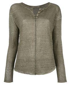 Transit | Striped Henley Top Womens Size 40 Linen/Flax