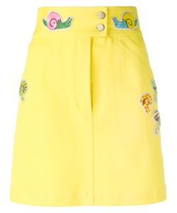 Olympia Le-Tan   Beaded Patch Fitted Skirt Womens Size 38 Cotton