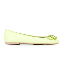 Pretty Ballerinas | Bow Detail Ballerinas Womens Size 36 Leather/Polyamide/Rubber