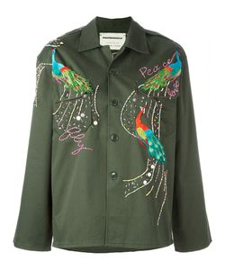 Night Market | Peacock Embroide Jacket Womens Size Medium Cotton/Polyester/Glass/Metal