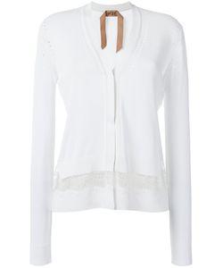 No21   Lace Insert Cardigan Womens Size 42 Viscose/Polyester/Acetate/Silk