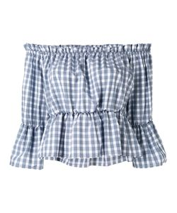 Dondup | Off Shoulder Checked Top Womens Size 44 Cotton